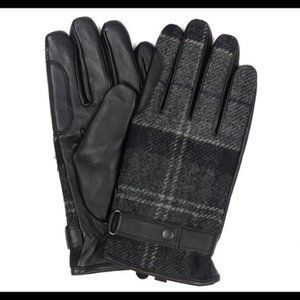 New Barbour Newbrough Tartan Gloves Black Grey